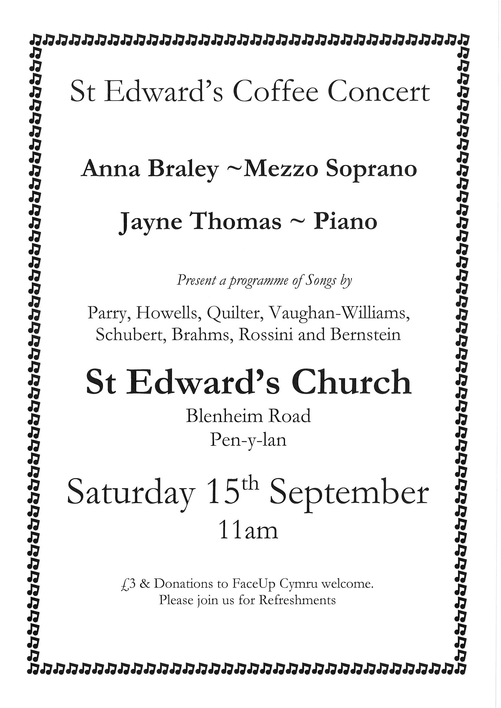 St Edward's Coffee Concert – Saturday, 15th September 2018